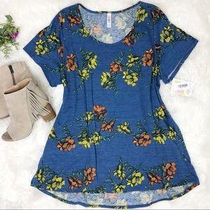 Lularoe Classic T blue multicolor floral print top